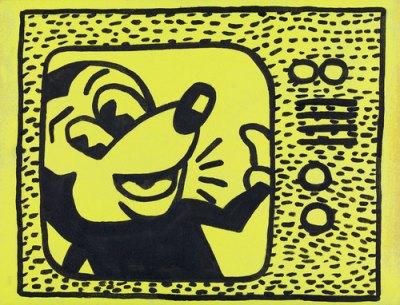 "Sturtevant. Haring Tag July 15 1981. 1985. Sumi ink and acrylic on cloth, 9 13/16 × 12 13/16"" (25 × 32.5 cm). Estate Sturtevant, Paris. Courtesy Galerie Thaddaeus Ropac, Paris–Salzburg. Photo: Prallen Allsten. © Estate Sturtevant, Paris"